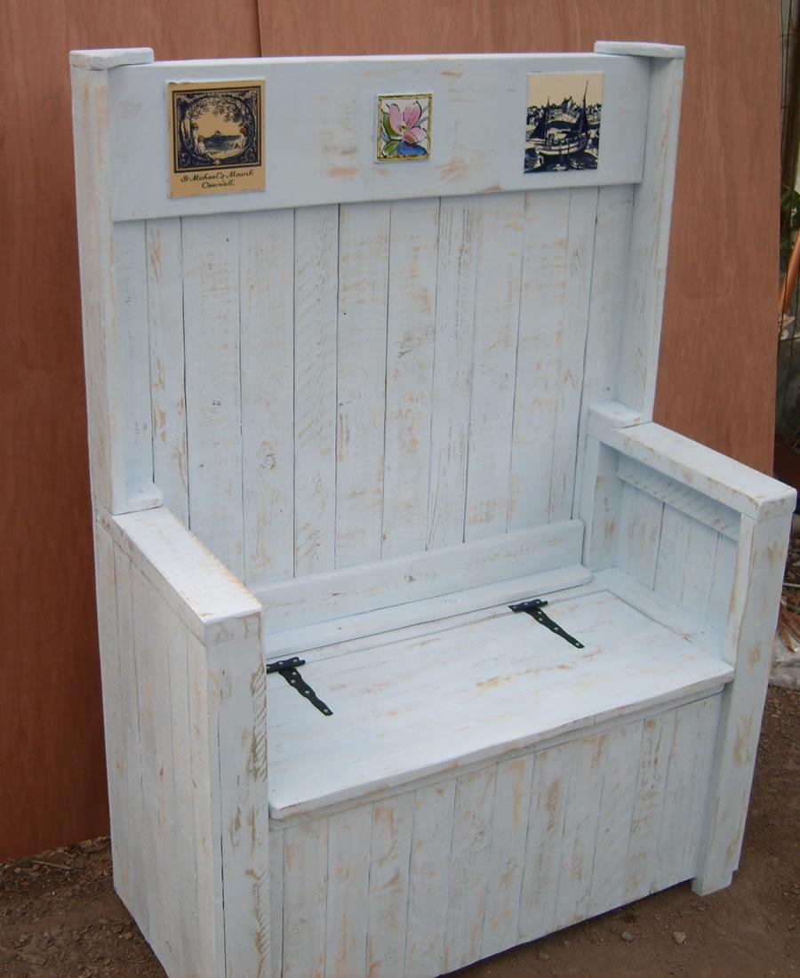 White pew bench seat