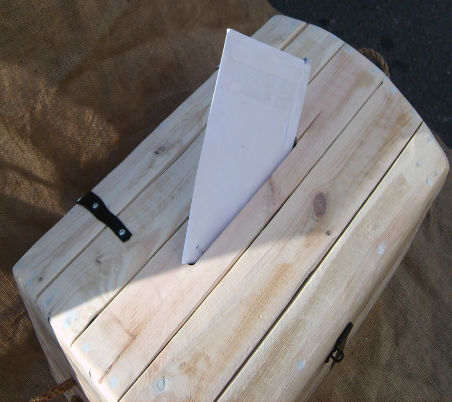 Letter into top of trunk